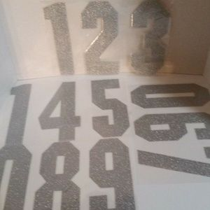 "Iron On Transfers Numbers 8"" Silver Glitter 2 Sets"